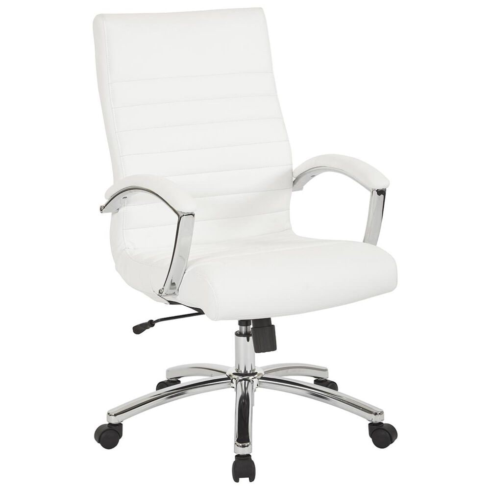 OSP Home FL Series Mid Back Executive Chair in White, , large