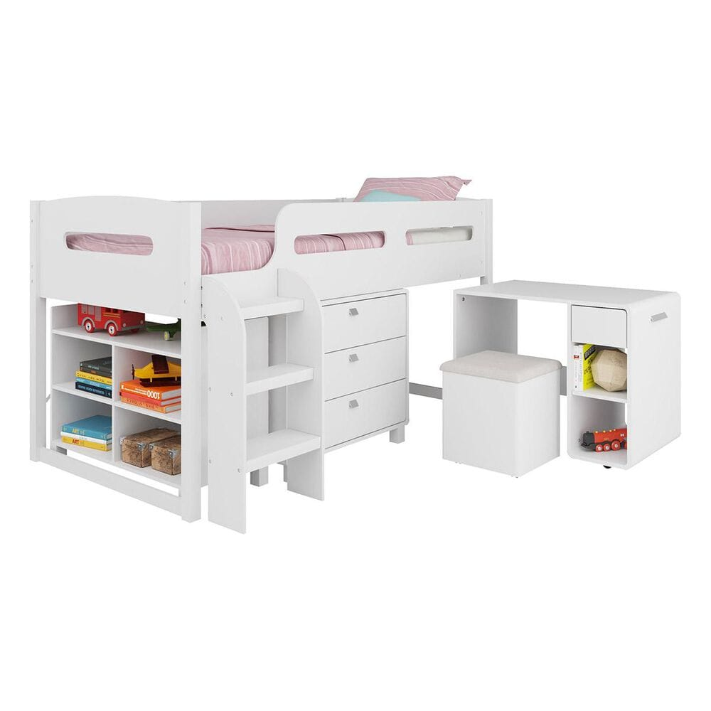 CorLiving Madison 5 Piece Single Twin Loft Bed in Snow White, , large