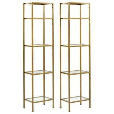 Crosley Furniture Aimee 2-Piece Etagere Set in Soft Gold, , large