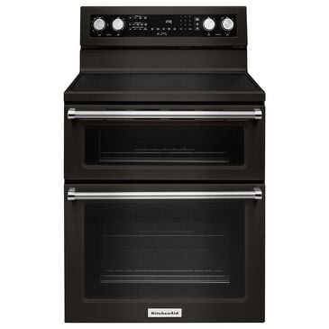 """KitchenAid 30"""" Electric Double Oven Convection Range in Black Stainless, , large"""