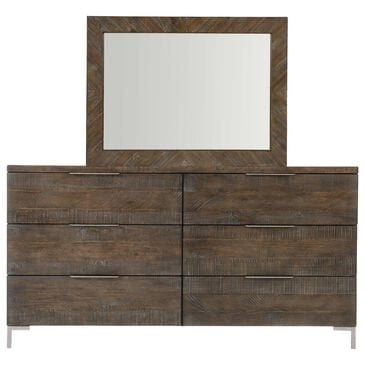 Bernhardt Logan Square 6 Drawer Dresser with Mirror in Sable Brown and Gray Mist, , large