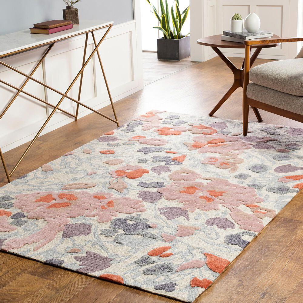 Surya Botanical 8' x 10' Rose, Rust, Camel and Charcoal Area Rug, , large