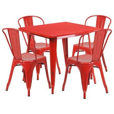 Flash Furniture 5-Piece Square Metal Table Set in Red, , large