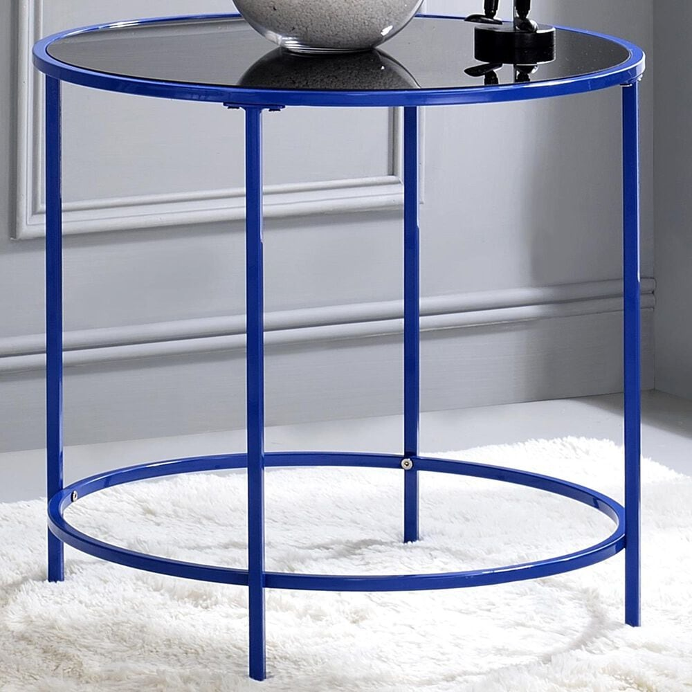 Furniture of America Villarreal Side Table in Blue, , large