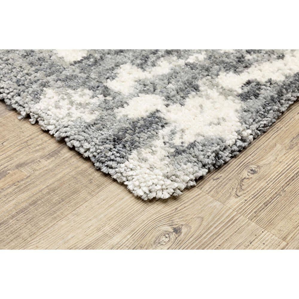 """Oriental Weavers Aspen Shag Distressed 003H9 2'3"""" x 7'6"""" Gray and Ivory Scatter Rug, , large"""