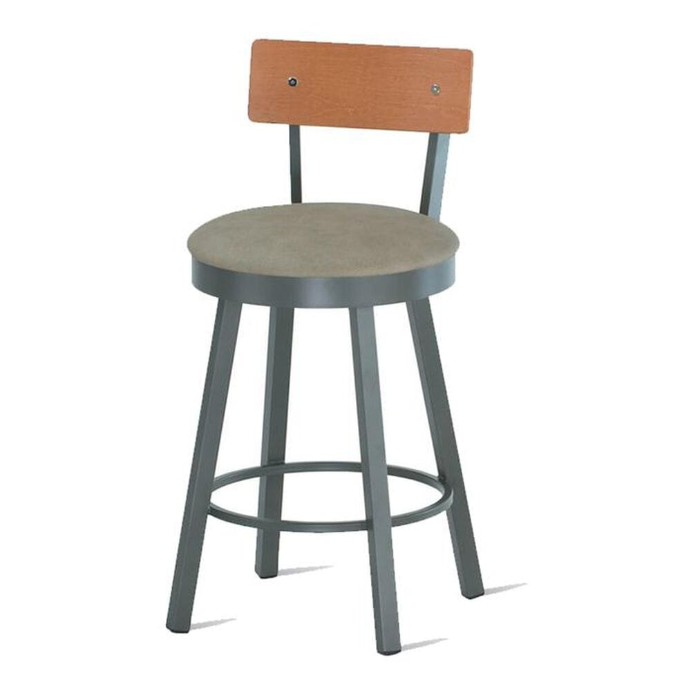 """Amisco Lauren 30"""" Swivel Stool with Wood Backrest, , large"""
