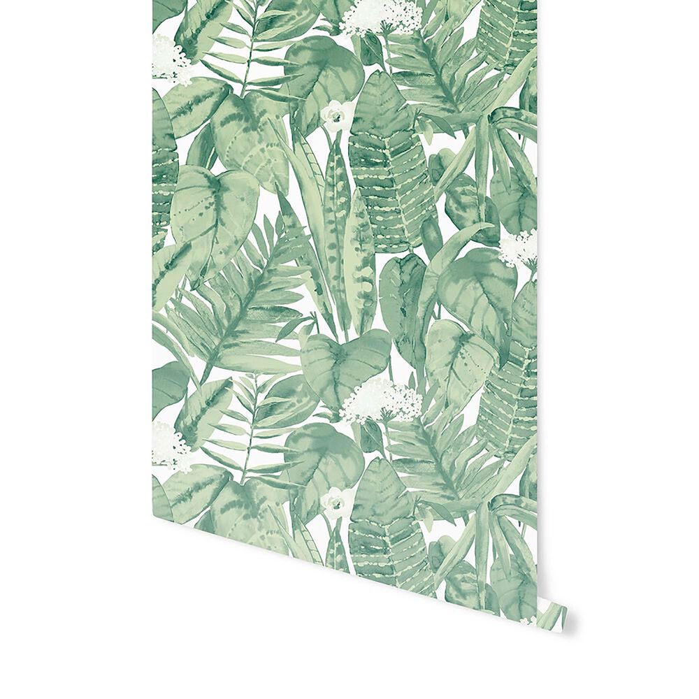 Tempaper 56 sq. ft. Tropical Jungle Green Peel and Stick Wallpaper, , large