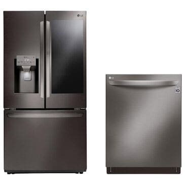 LG 2-Piece Kitchen Package 26 Cu. Ft. French Door Refrigerator and Top Control Dishwasher - Black Stainless Steel, , large