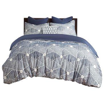 Hampton Park Ellipse 3-Piece King/California King Cotton Jacquard Comforter Set in Navy, , large