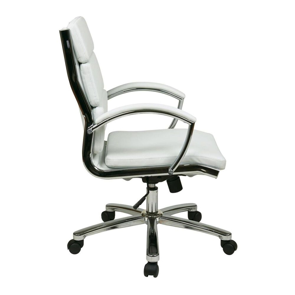 OSP Home Mid Back Executive White Faux Leather Chair, , large