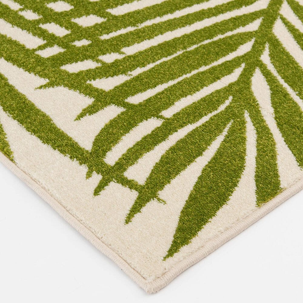"Central Oriental Terrace Tropic Tropical Oasis 7'10"" x 9'10"" Snow and Leaf Area Rug, , large"