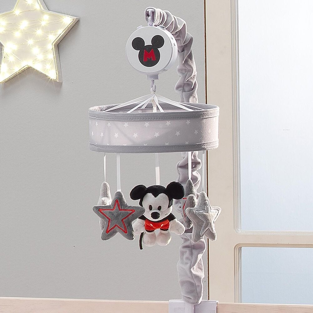 Lambs and Ivy Disney Baby Magical Mickey Mouse Musical Baby Crib Mobile in Black, Red, Gray and White, , large