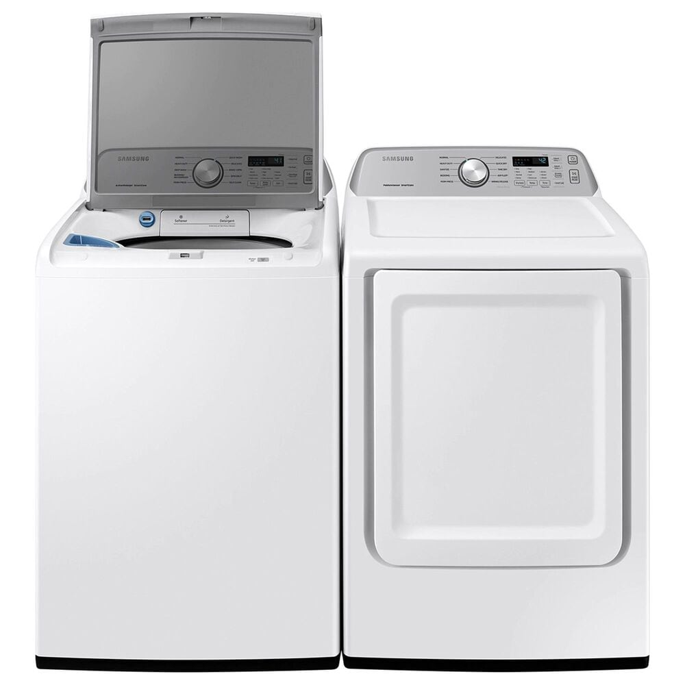 Samsung 4.4 Cu. Ft. Top Load Washer and 7.4 Cu. Ft. Gas Dryer Laundry Pair with Sensor Dry and Smart Care in White, , large