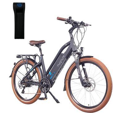 Magnum Metro Electric Low Step Bike in Matte Black + (Free) Foldylock Compact Bike Lock in Black, , large