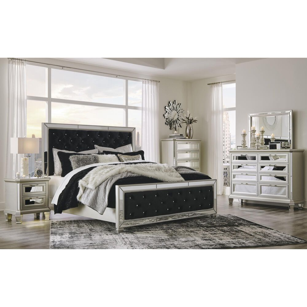 Signature Design by Ashley Lindenfield 4 Piece King Bedroom Set in Silver, , large