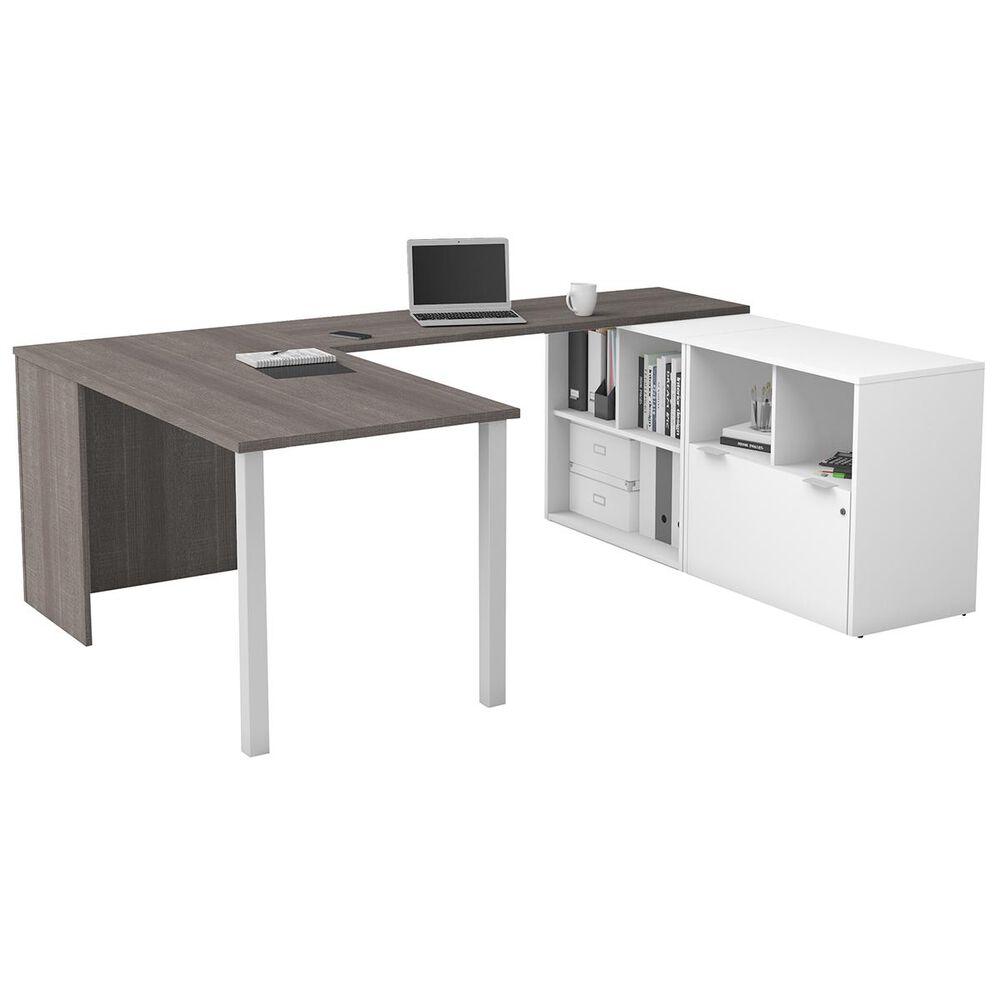 Bestar i3 Plus 1-File Drawer U-Desk in Bark Gray and White, , large