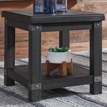 Signature Design by Ashley Delmar Rectangular End Table in Black, , large