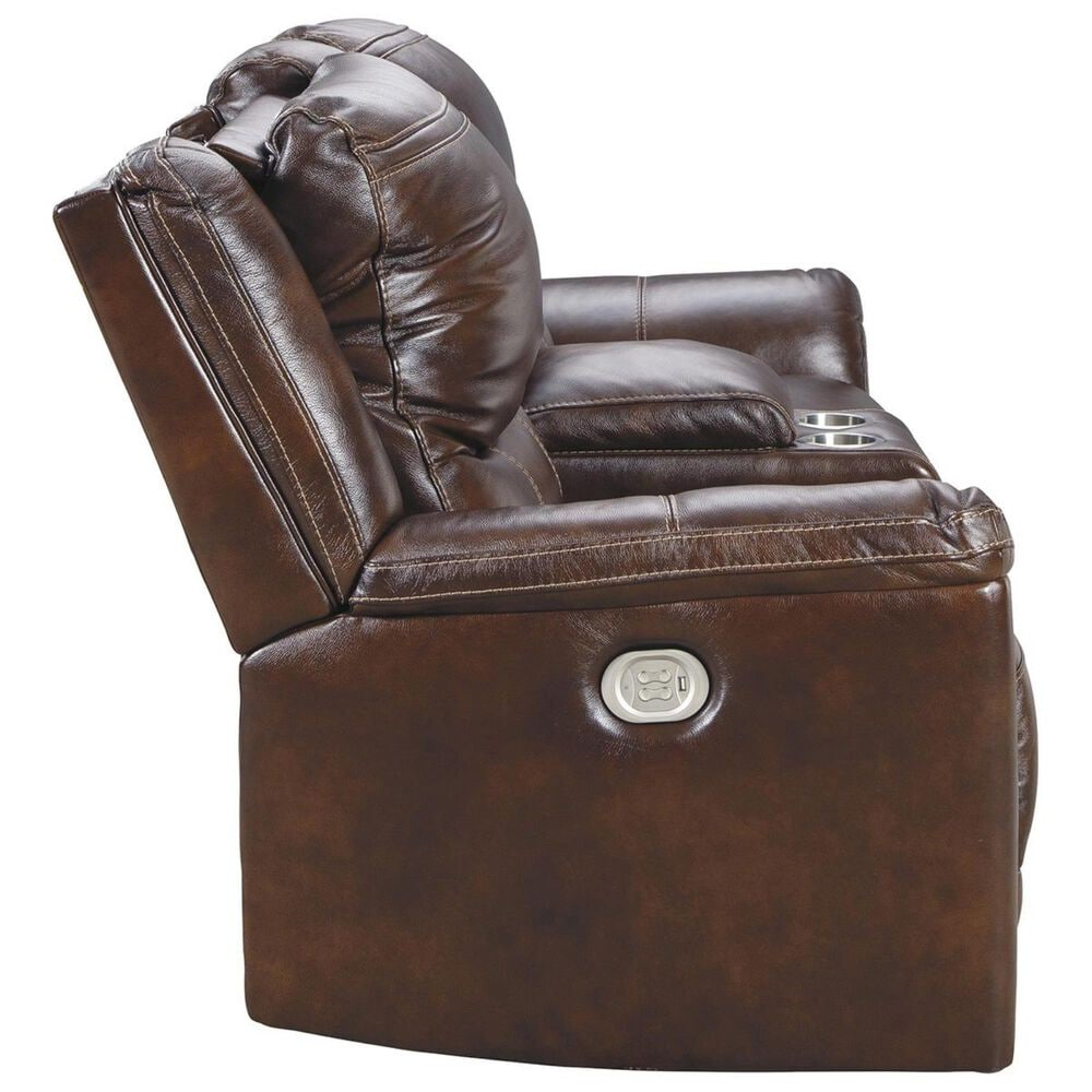 Signature Design by Ashley Catanzaro Power Reclining Console Loveseat with Adjustable Headrest in Mahogany, , large
