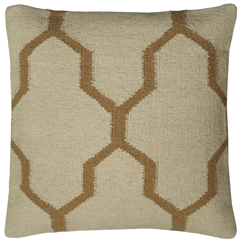 """Rizzy Home 18"""" x 18"""" Down Pillow in Neutral and Brown, , large"""