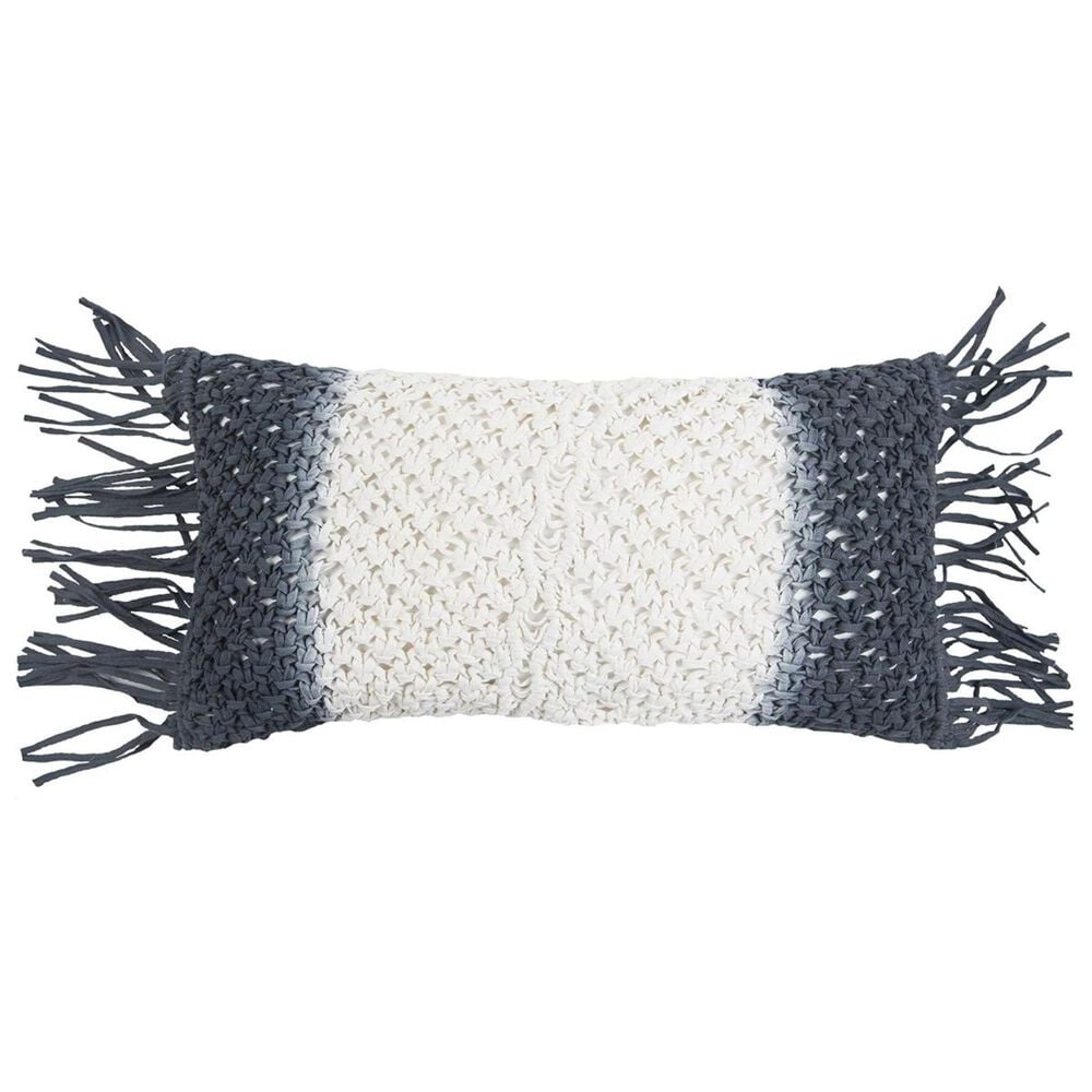 """Rizzy Home 11"""" x 21"""" Pillow Cover in Black and White, , large"""