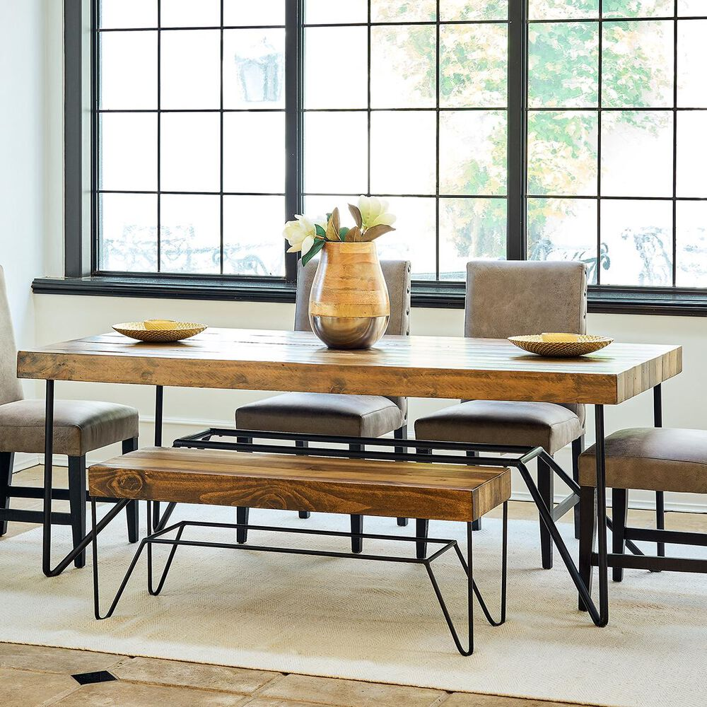 Mayberry Hill Cruz Rectangular Dining Table in Black and Natural - Table Only, , large