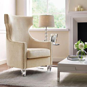 Tov Furniture Gramercy Velvet Wing Chair in Gold Crocodile, , large