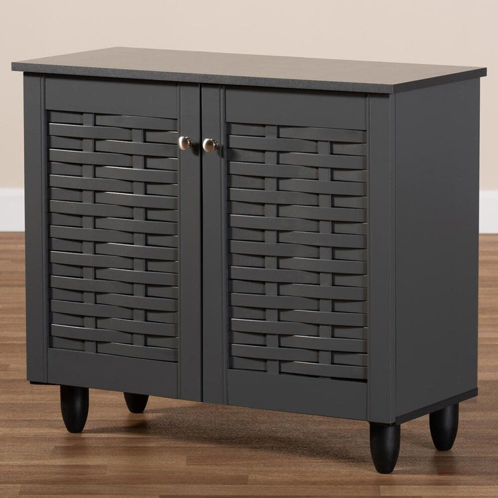 Baxton Studio Womda 2-Door Entryway Shoe Storage Cabinet in Dark Gray, , large