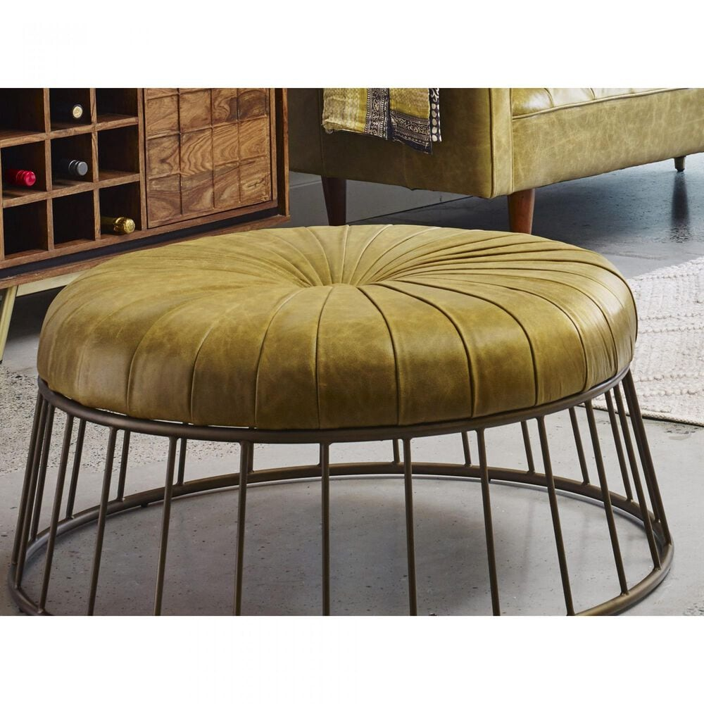 Moe's Home Collection Radcliffe Ottoman in Green Leather, , large
