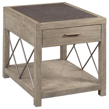 American Drew West End 1-Drawer End Table in Soft Greige and Light Stain, , large
