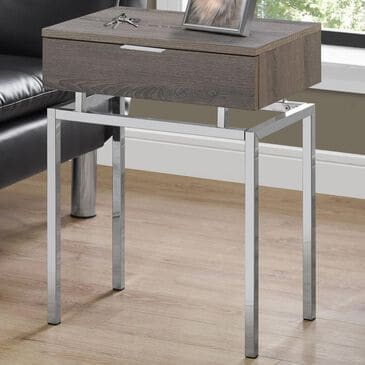 """Monarch Specialties 24"""" Accent Table in Dark Taupe and Chrome, , large"""