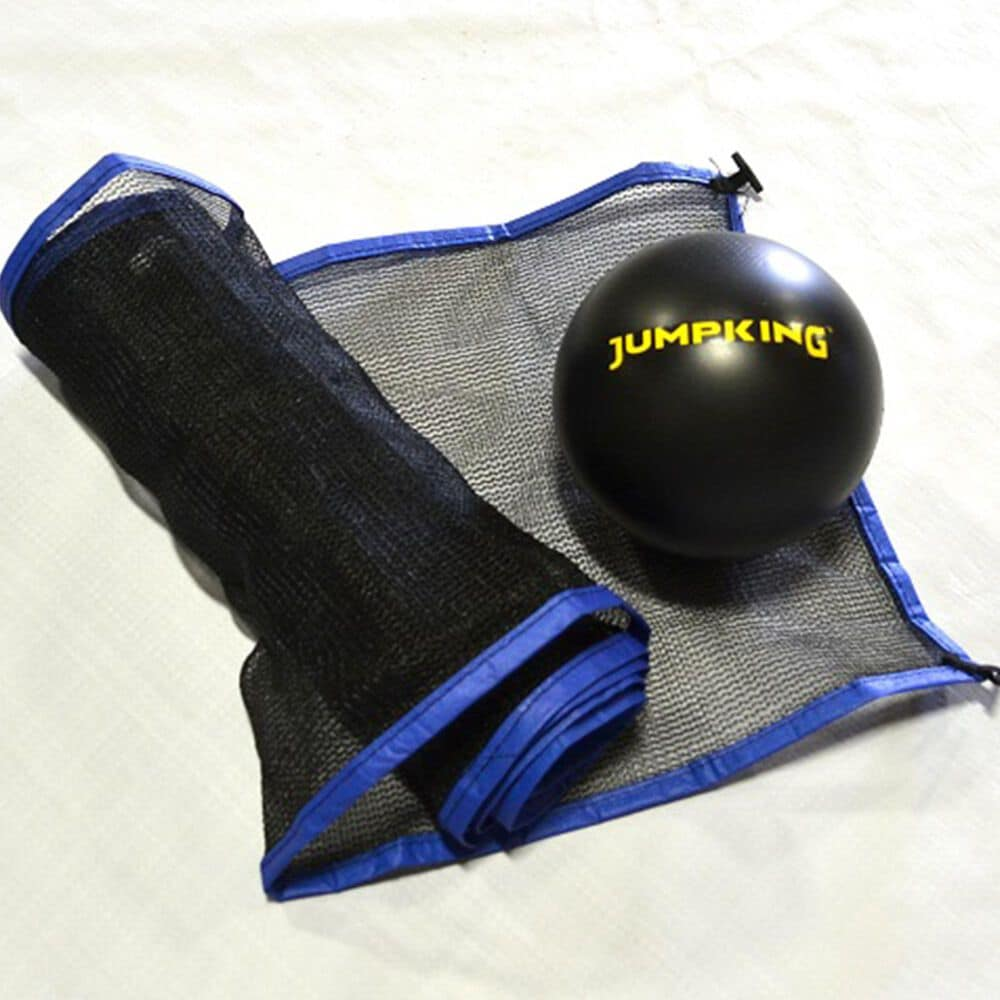 Jumpking 10' x 15' Rectangular Trampoline with 2 Basketball Hoops, Mini Basketball, Volleyball Net and Ball, Court Markings, , large