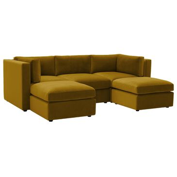 Joybird Daya 5-Piece Sectional in Sorrento Marigold Velvet, , large
