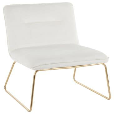 Lumisource Casper Accent Chair in Cream Velvet and Gold, , large