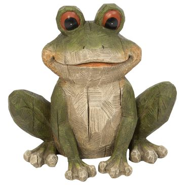 """The Gerson Company 12.8"""" Frog Figurine in Green, , large"""