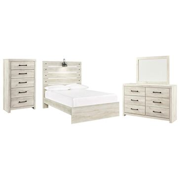 Signature Design by Ashley Cambeck 4 Piece Full Bed Set in Whitewash with Lighting, , large