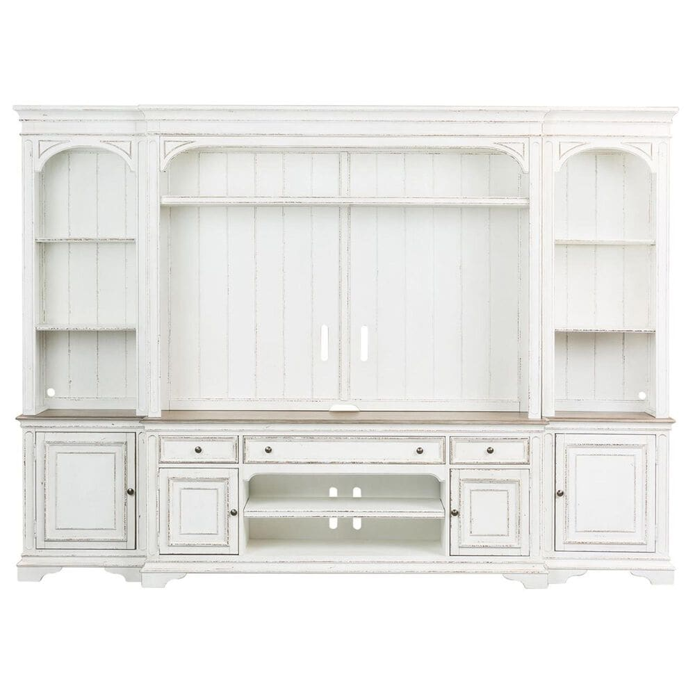 Liberty Magnolia Manor Entertainment Center in White with Antique Finish, , large