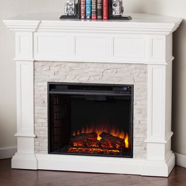 Southern Enterprises Engo Electric Convertible Corner Fireplace in Fresh White/Rustic White Faux Stone, , large