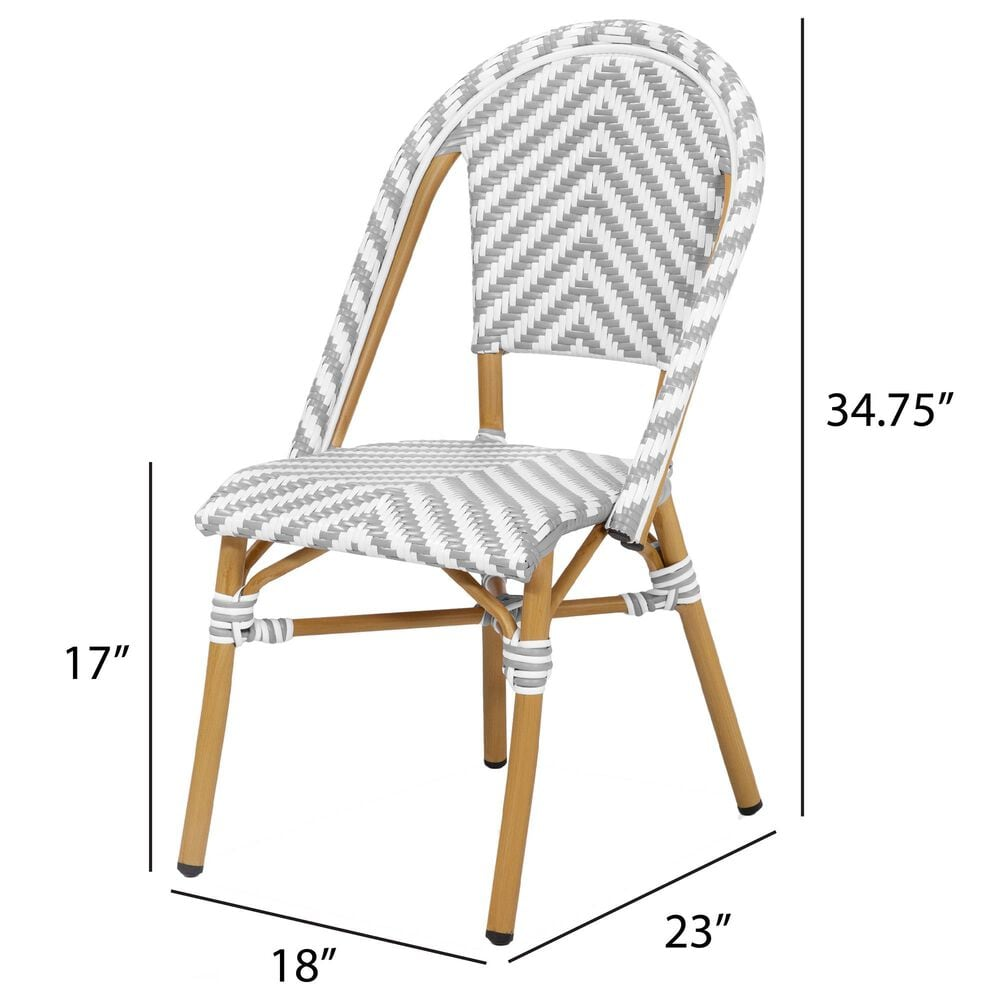 Furniture of America Lam Patio Dining Chair in Gray/White, , large