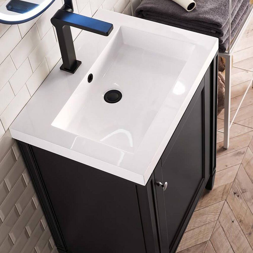 """James Martin Brittania 24"""" Single Bathroom Vanity in Black Onyx with White Glossy Resin Top, , large"""