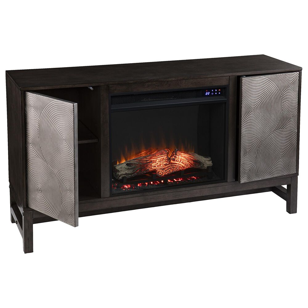 Southern Enterprises Lannington Wide Electric Fireplace with Media Storage in Brown/Antique Silver, , large