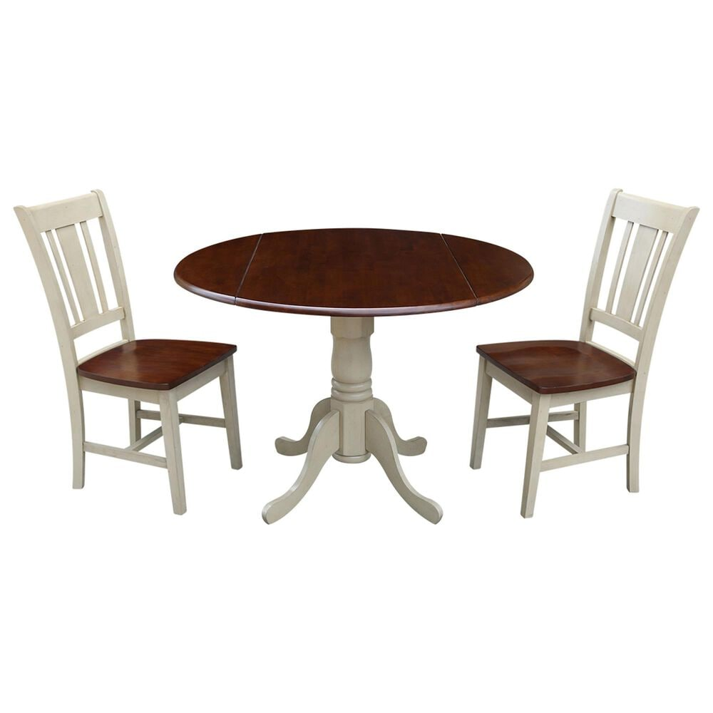 International Concepts San Remo 3-Piece Dining Set in Almond/Espresso, , large