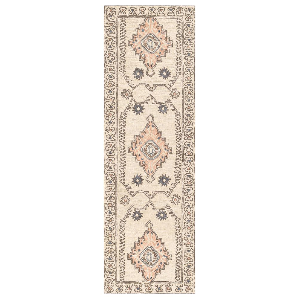 "Surya Urfa URF-2302 2'6"" x 8' Peach, Camel and Gray Runner, , large"