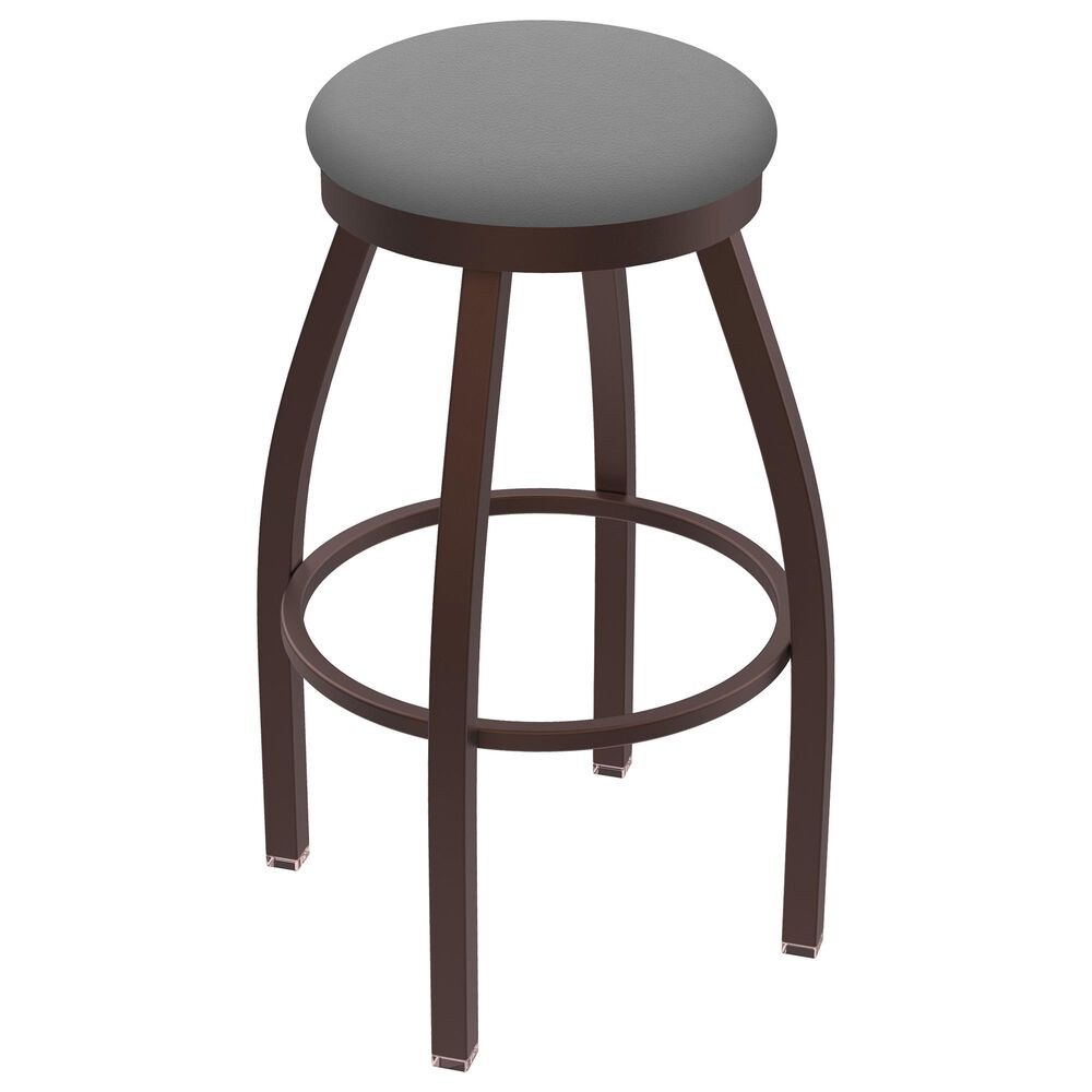 """Holland Bar Stool 802 Misha 25"""" Swivel Counter Stool with Bronze and Canter Folkstone Grey Seat, , large"""