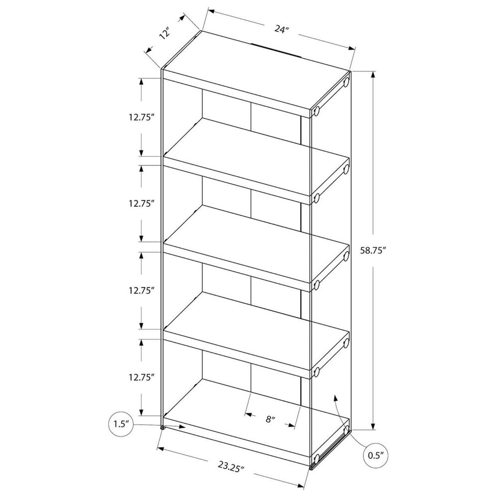 "Monarch Specialties 60"" Bookcase in Grey, , large"