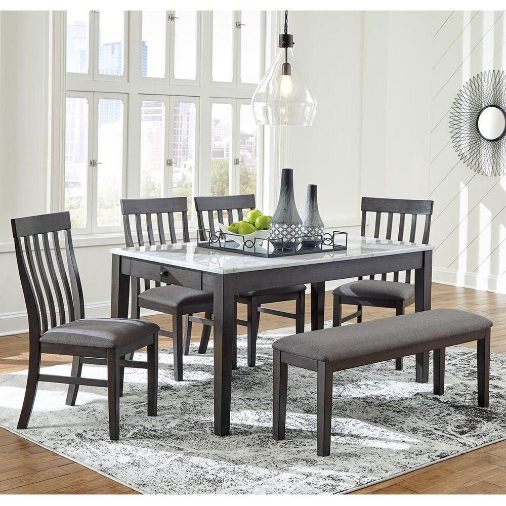 Signature Design by Ashley Luvoni 6-Piece Dining Set in White and Dark Charcoal Gray, , large