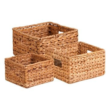 Honey Can Do 3-Piece Nesting Banana Leaf Basket Set in Natural and Brown, , large