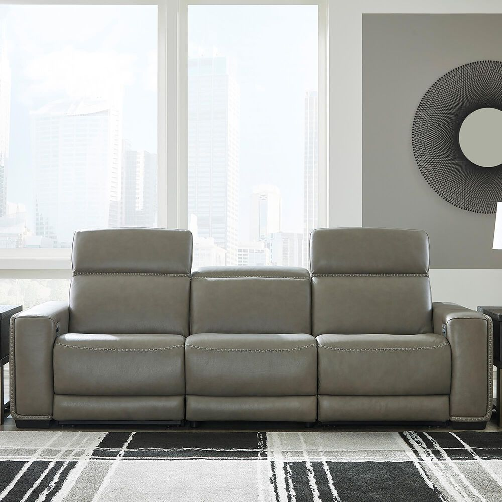 Signature Design by Ashley Correze Power Reclining Sofa in Gray Leather Match, , large