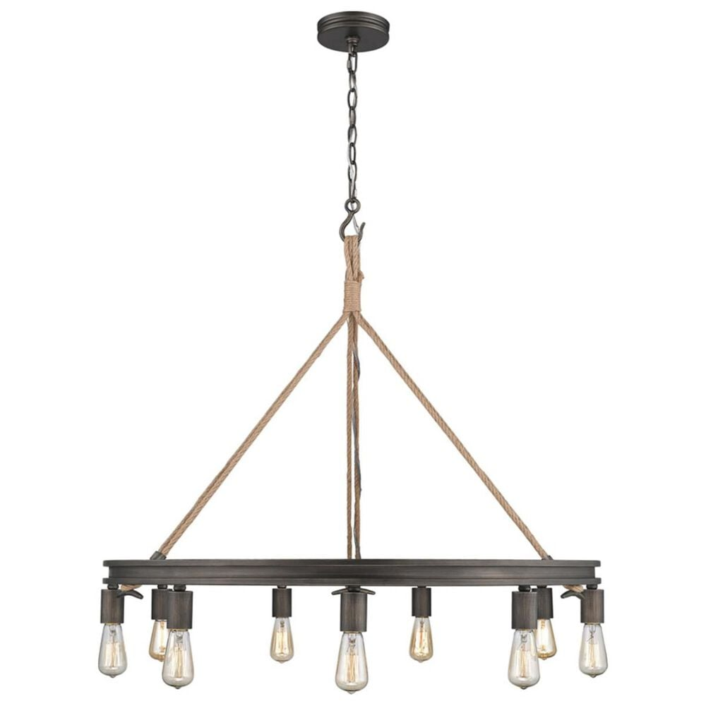 Golden Lighting Chatham 9-Light Chandelier in Gunmetal Bronze and Rope, , large