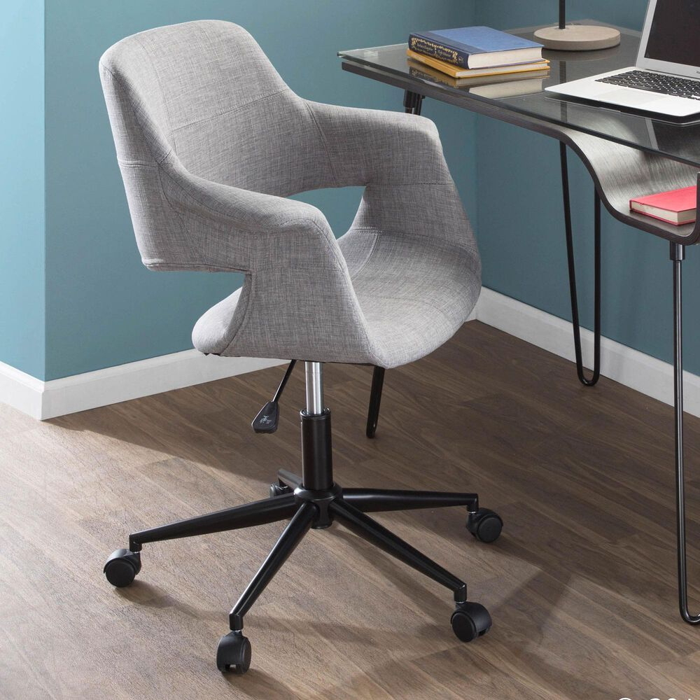 Lumisource Vintage Flair Office CHair in Grey and Black, , large