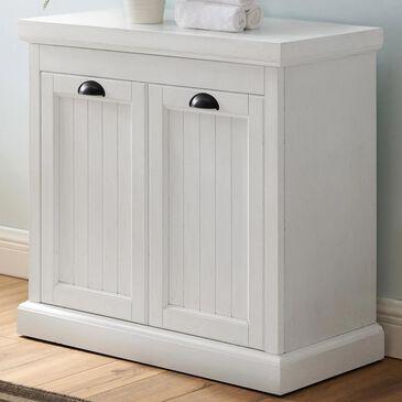 Crosley Furniture Seaside Lift-Top Linen Hamper in Distressed White, , large